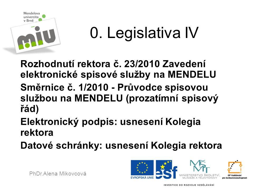 0. Legislativa IV Rozhodnutí rektora č. 23/2010 Zavedení elektronické spisové služby na MENDELU Směrnice č. 1/2010 - Průvodce spisovou službou na MEND