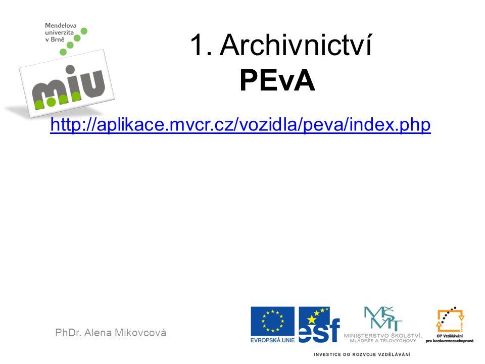 1. Archivnictví PEvA http://aplikace.mvcr.cz/vozidla/peva/index.php PhDr. Alena Mikovcová
