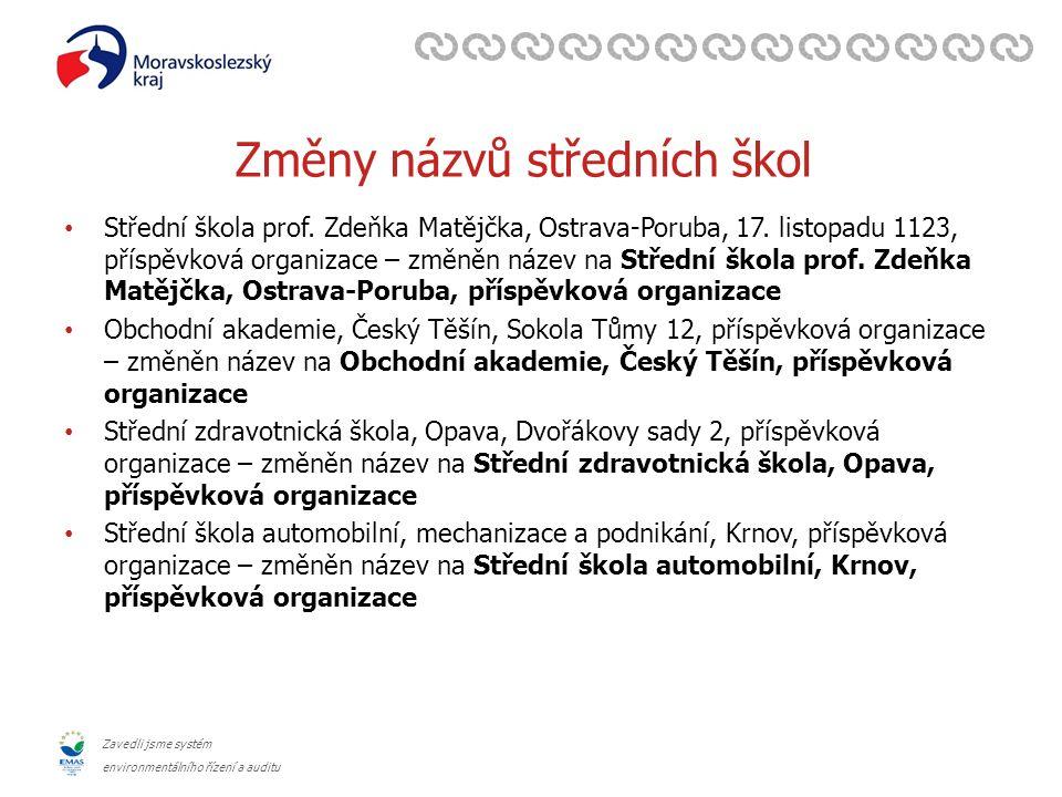 Zavedli jsme systém environmentálního řízení a auditu Změny názvů středních škol Střední škola prof. Zdeňka Matějčka, Ostrava-Poruba, 17. listopadu 11