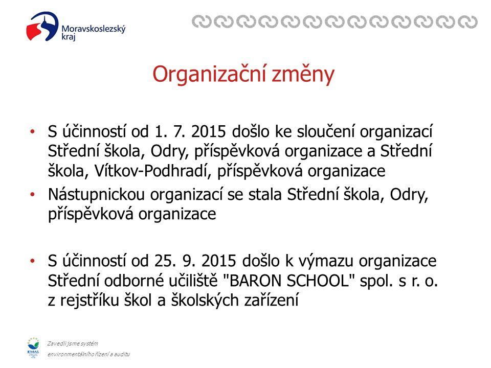 Zavedli jsme systém environmentálního řízení a auditu Organizační změny S účinností od 1. 7. 2015 došlo ke sloučení organizací Střední škola, Odry, př