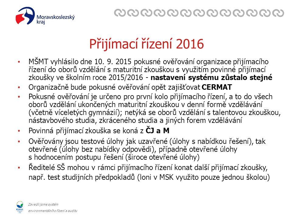 Zavedli jsme systém environmentálního řízení a auditu Přijímací řízení 2016 – doporučení SŠ Cílem Moravskoslezského kraje je, aby střední školy všech zřizovatelů se do pokusného ověřování přihlásily (ostatní kraje obdobně) Rada MSK doporučila ředitelům SŠ všech zřizovatelů přihlásit se prostřednictvím KÚ MSK v rámci přijímacího řízení ke vzdělávání ve SŠ v denní formě vzdělávání pro školní rok 2016/2017 k pokusnému ověřování V MSK přihlášeno 93 středních škol – všechny SŠ zřizované MSK (78), církví (2), obcí (1) + 12 soukromých Doporučení MSK středním školám zřizovaných krajem: o jednotné testy jsou určeny pro všechny uchazeče bez ohledu na prospěch ze základní školy o doporučující váha přijímací zkoušky v rámci přijímacího řízení min.