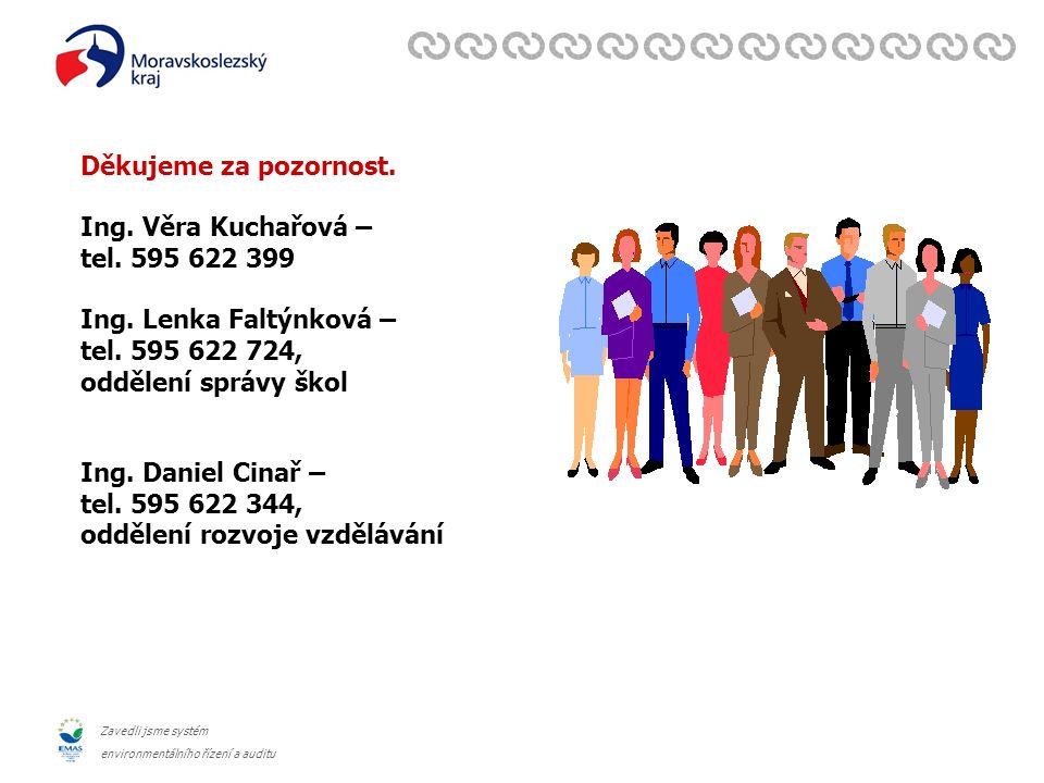 Zavedli jsme systém environmentálního řízení a auditu Děkujeme za pozornost. Ing. Věra Kuchařová – tel. 595 622 399 Ing. Lenka Faltýnková – tel. 595 6