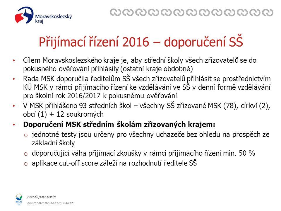 Zavedli jsme systém environmentálního řízení a auditu Přijímací řízení 2016 – doporučení SŠ Cílem Moravskoslezského kraje je, aby střední školy všech