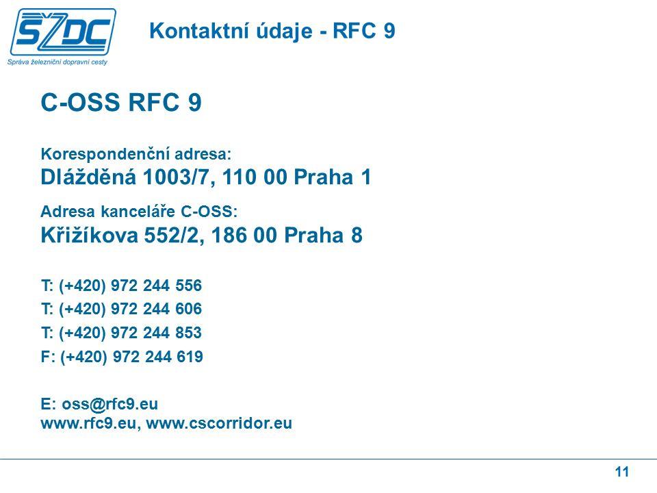 11 Kontaktní údaje - RFC 9 C-OSS RFC 9 Korespondenční adresa: Dlážděná 1003/7, 110 00 Praha 1 Adresa kanceláře C-OSS: Křižíkova 552/2, 186 00 Praha 8 T: (+420) 972 244 556 T: (+420) 972 244 606 T: (+420) 972 244 853 F: (+420) 972 244 619 E: oss@rfc9.eu www.rfc9.eu, www.cscorridor.eu
