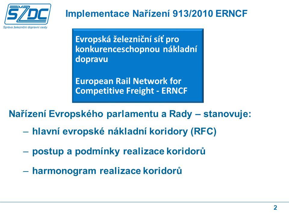 Nařízení Evropského parlamentu a Rady – stanovuje: –hlavní evropské nákladní koridory (RFC) –postup a podmínky realizace koridorů –harmonogram realizace koridorů 2 Implementace Nařízení 913/2010 ERNCF Evropská železniční síť pro konkurenceschopnou nákladní dopravu European Rail Network for Competitive Freight - ERNCF