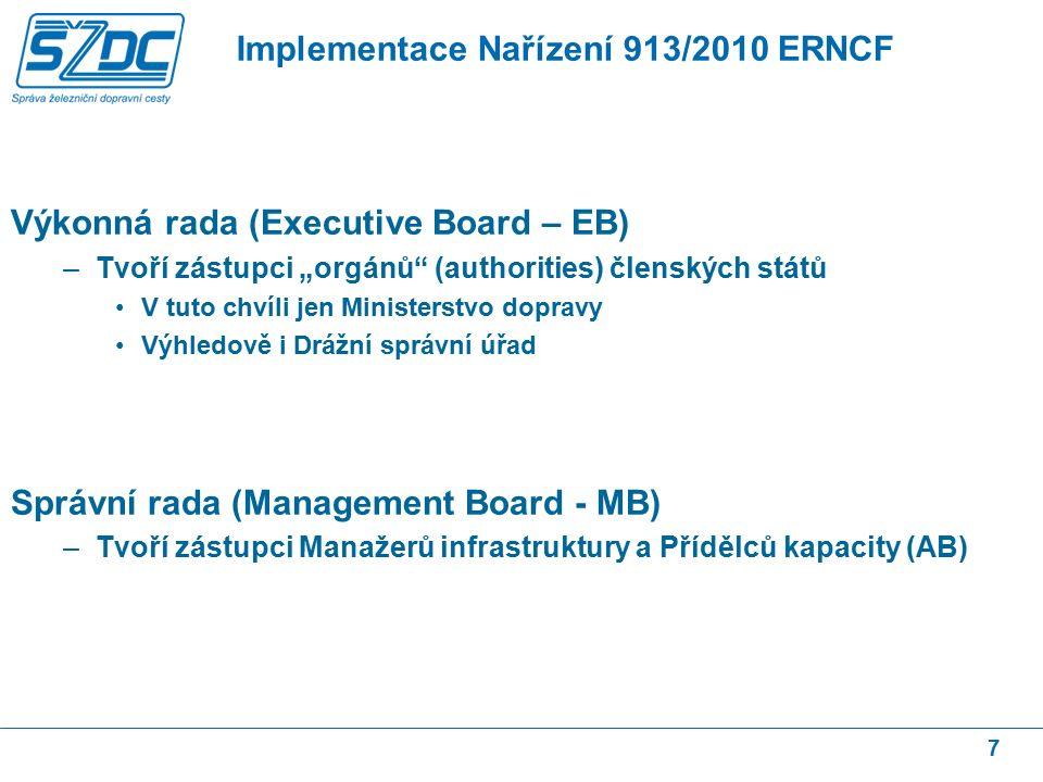 """Výkonná rada (Executive Board – EB) –Tvoří zástupci """"orgánů (authorities) členských států V tuto chvíli jen Ministerstvo dopravy Výhledově i Drážní správní úřad Správní rada (Management Board - MB) –Tvoří zástupci Manažerů infrastruktury a Přídělců kapacity (AB) 7 Implementace Nařízení 913/2010 ERNCF"""