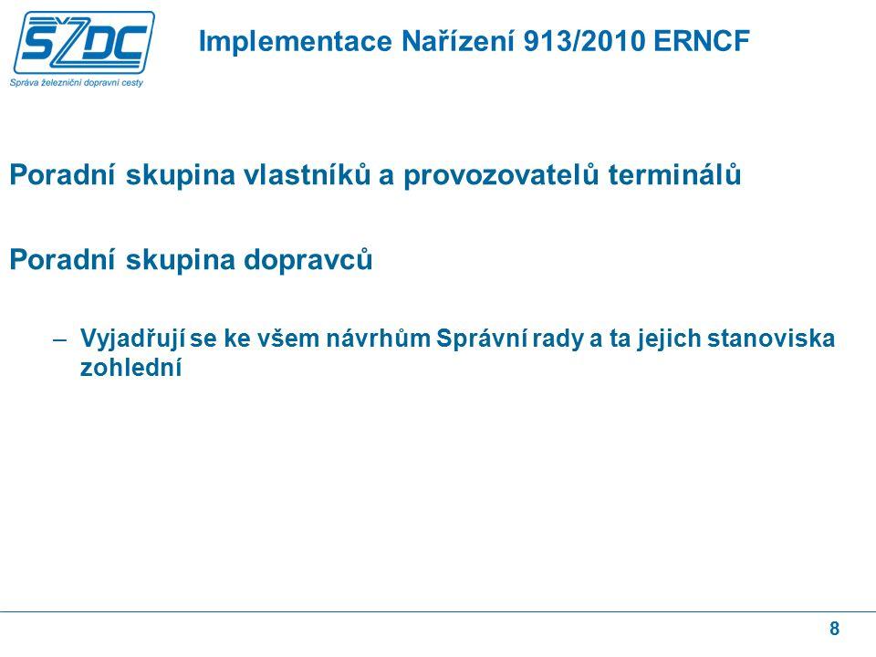 Poradní skupina vlastníků a provozovatelů terminálů Poradní skupina dopravců –Vyjadřují se ke všem návrhům Správní rady a ta jejich stanoviska zohlední 8 Implementace Nařízení 913/2010 ERNCF