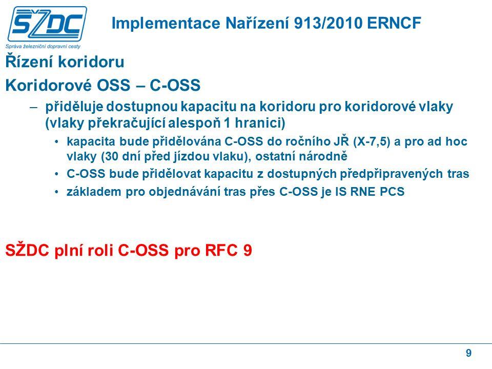 Řízení koridoru Koridorové OSS – C-OSS –přiděluje dostupnou kapacitu na koridoru pro koridorové vlaky (vlaky překračující alespoň 1 hranici) kapacita bude přidělována C-OSS do ročního JŘ (X-7,5) a pro ad hoc vlaky (30 dní před jízdou vlaku), ostatní národně C-OSS bude přidělovat kapacitu z dostupných předpřipravených tras základem pro objednávání tras přes C-OSS je IS RNE PCS SŽDC plní roli C-OSS pro RFC 9 9 Implementace Nařízení 913/2010 ERNCF