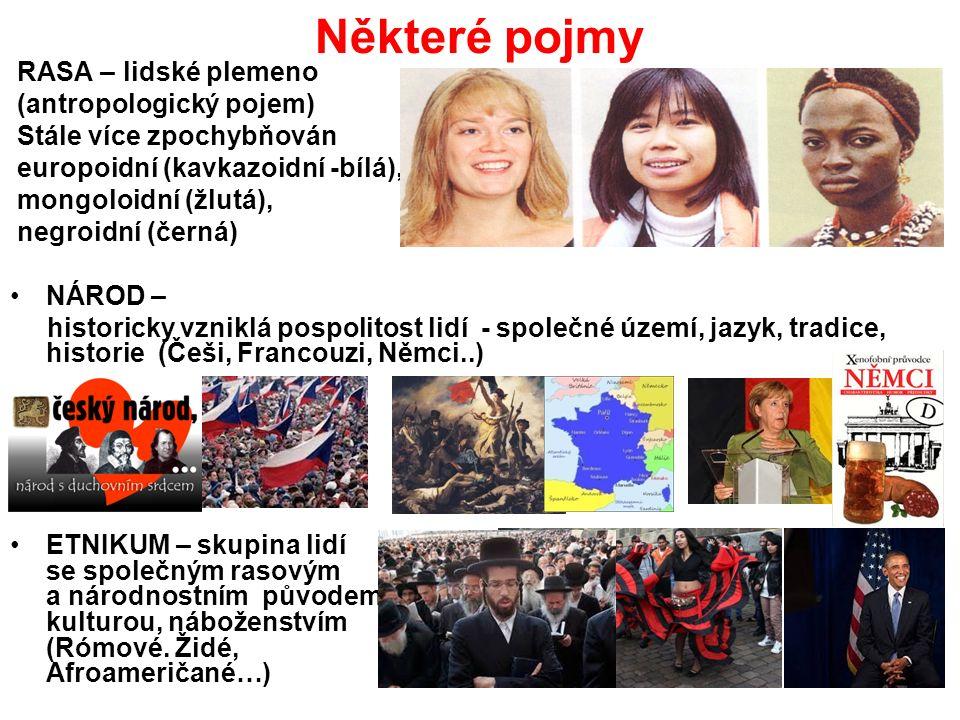 Některé pojmy RASA – lidské plemeno (antropologický pojem) Stále více zpochybňován europoidní (kavkazoidní -bílá), mongoloidní (žlutá), negroidní (černá) NÁROD – historicky vzniklá pospolitost lidí - společné území, jazyk, tradice, historie (Češi, Francouzi, Němci..) ETNIKUM – skupina lidí se společným rasovým a národnostním původem, kulturou, náboženstvím (Rómové.