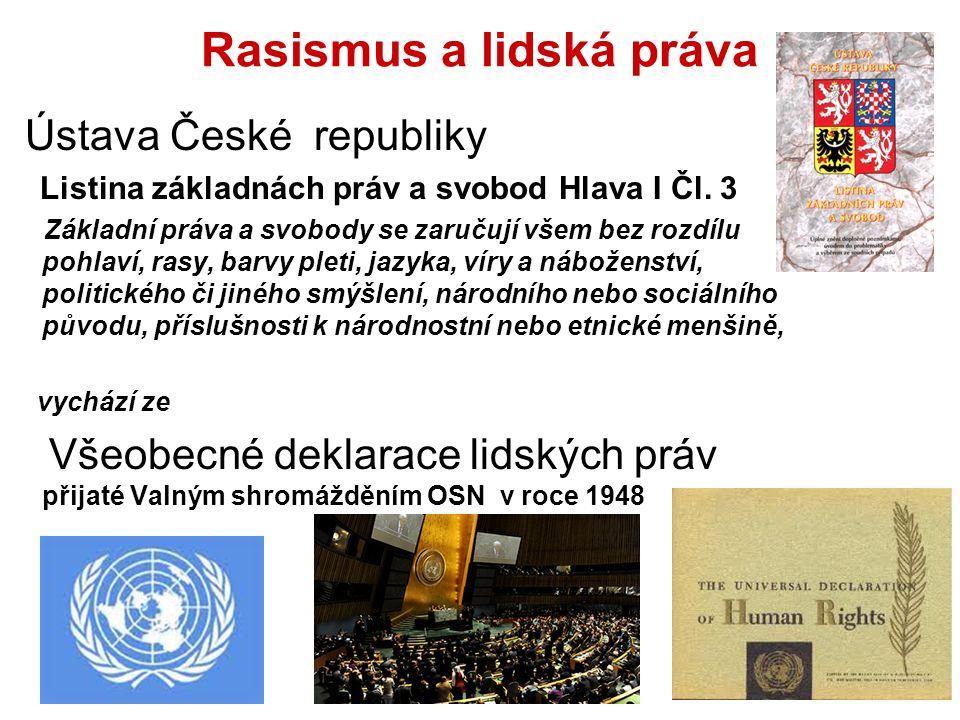 Rasismus a lidská práva Ústava České republiky Listina základnách práv a svobod Hlava I Čl.