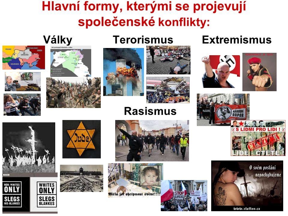 Hlavní formy, kterými se projevují společenské konflikty: Války Terorismus Extremismus Rasismus