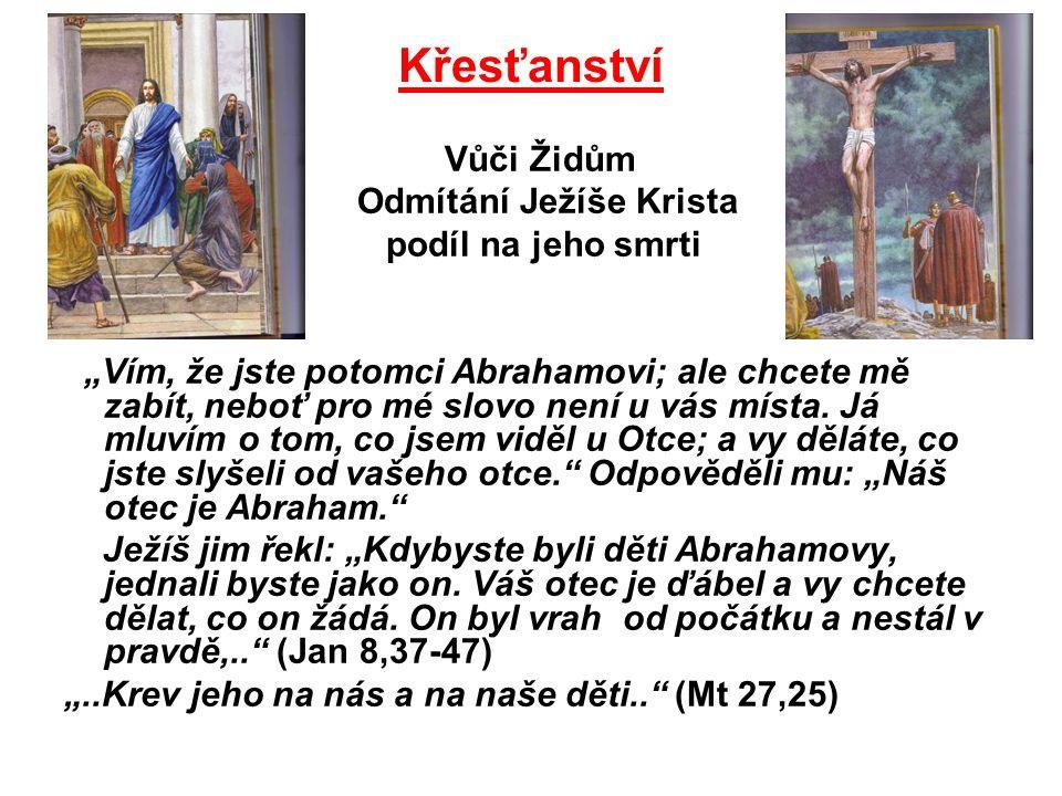 """Křesťanství Vůči Židům Odmítání Ježíše Krista podíl na jeho smrti """"Vím, že jste potomci Abrahamovi; ale chcete mě zabít, neboť pro mé slovo není u vás místa."""