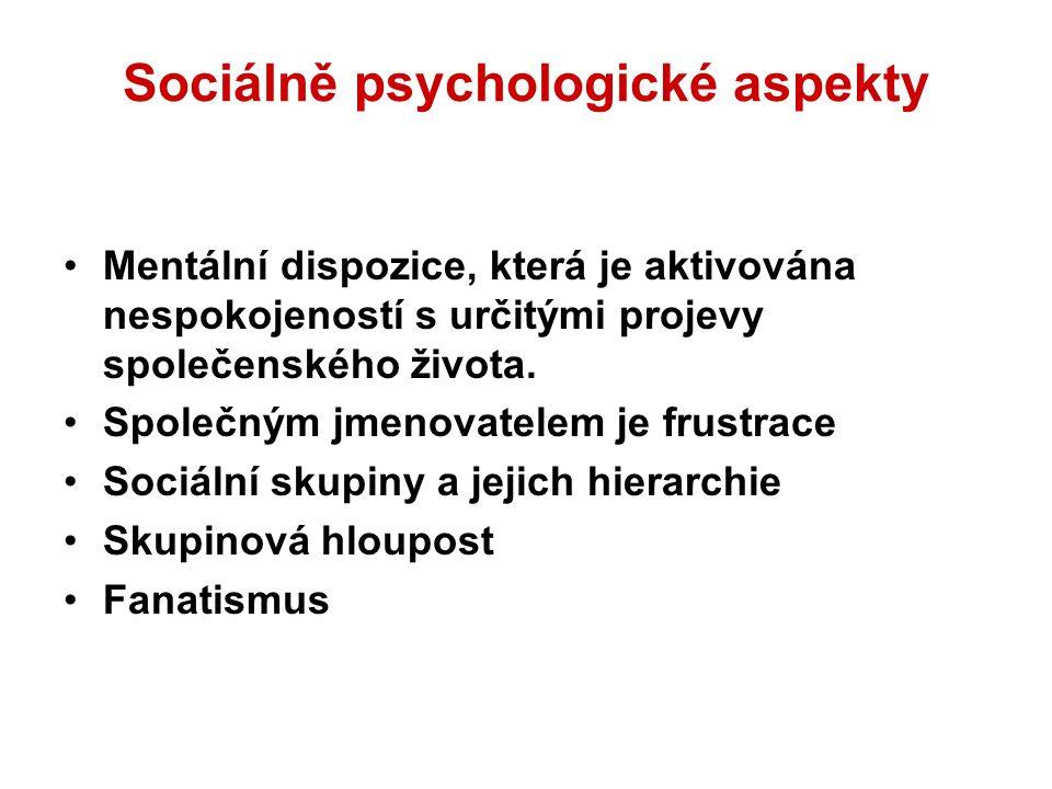 Sociálně psychologické aspekty Mentální dispozice, která je aktivována nespokojeností s určitými projevy společenského života.