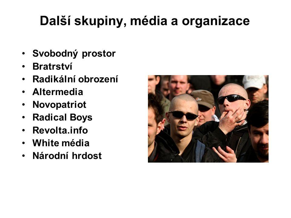 Další skupiny, média a organizace Svobodný prostor Bratrství Radikální obrození Altermedia Novopatriot Radical Boys Revolta.info White média Národní hrdost