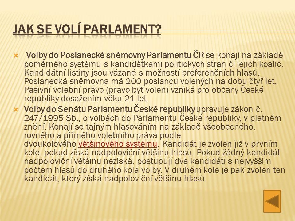  Volby do Poslanecké sněmovny Parlamentu ČR se konají na základě poměrného systému s kandidátkami politických stran či jejich koalic.