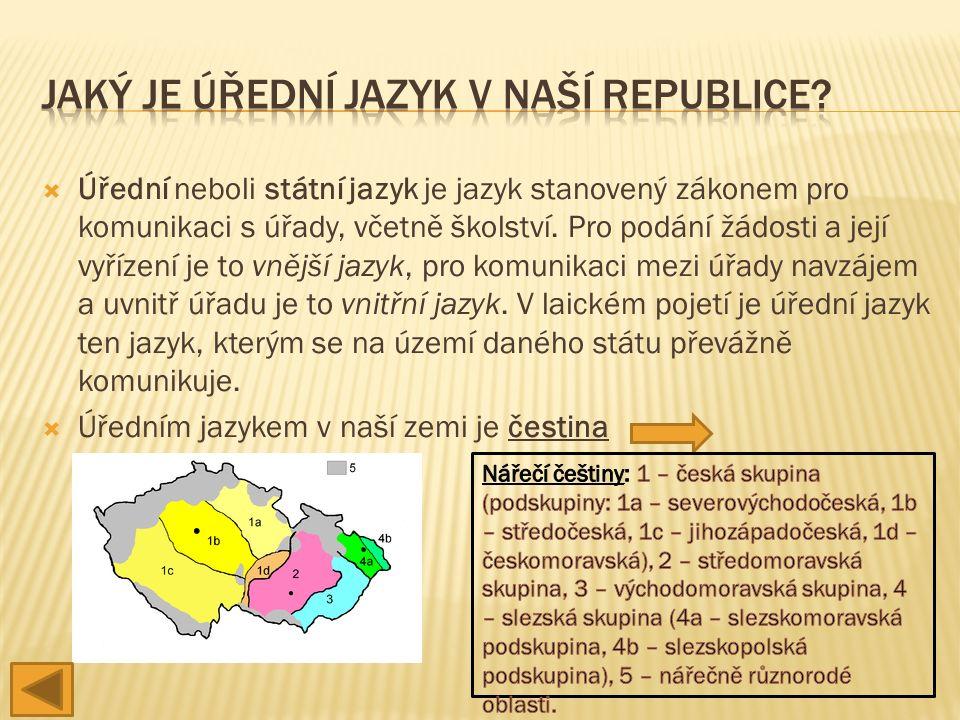  Úřední neboli státní jazyk je jazyk stanovený zákonem pro komunikaci s úřady, včetně školství.