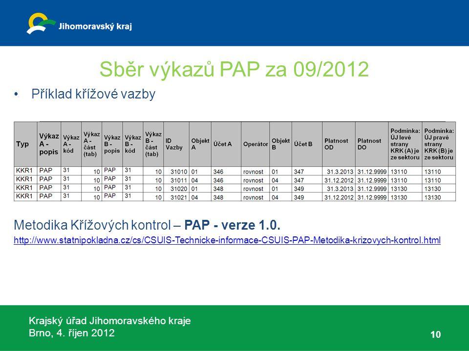 Krajský úřad Jihomoravského kraje Brno, 4. říjen 2012 Sběr výkazů PAP za 09/2012 Příklad křížové vazby Metodika Křížových kontrol – PAP - verze 1.0. h