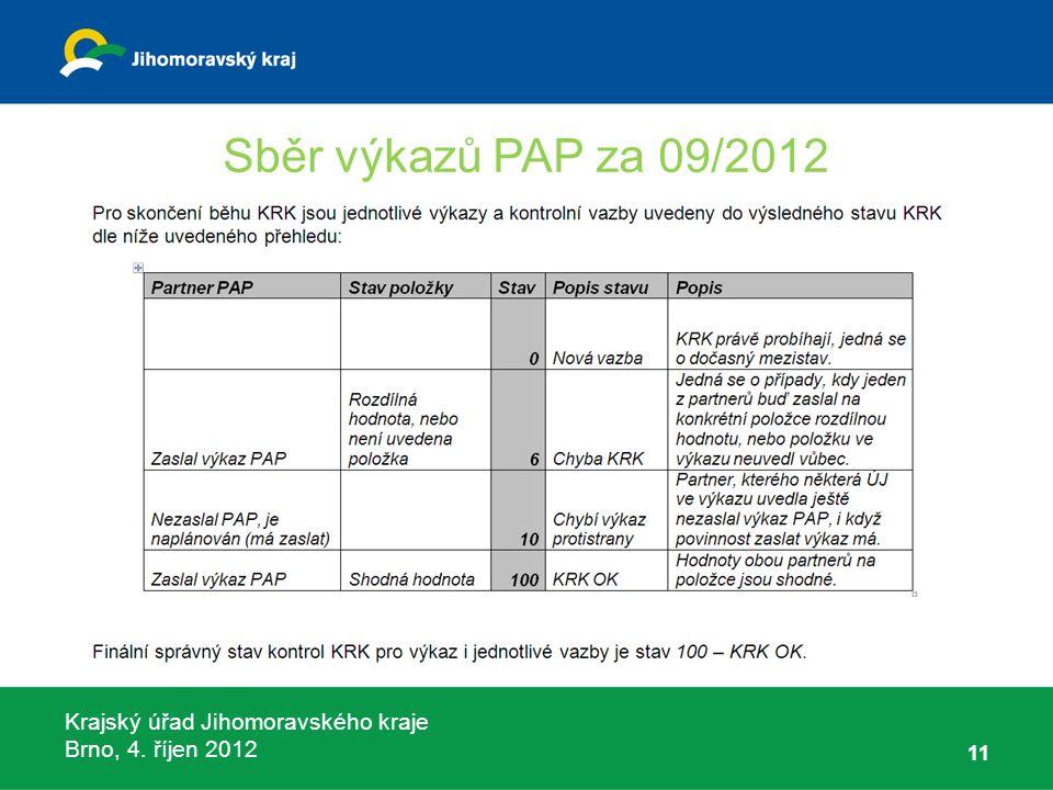 Krajský úřad Jihomoravského kraje Brno, 4. říjen 2012 Sběr výkazů PAP za 09/2012 11