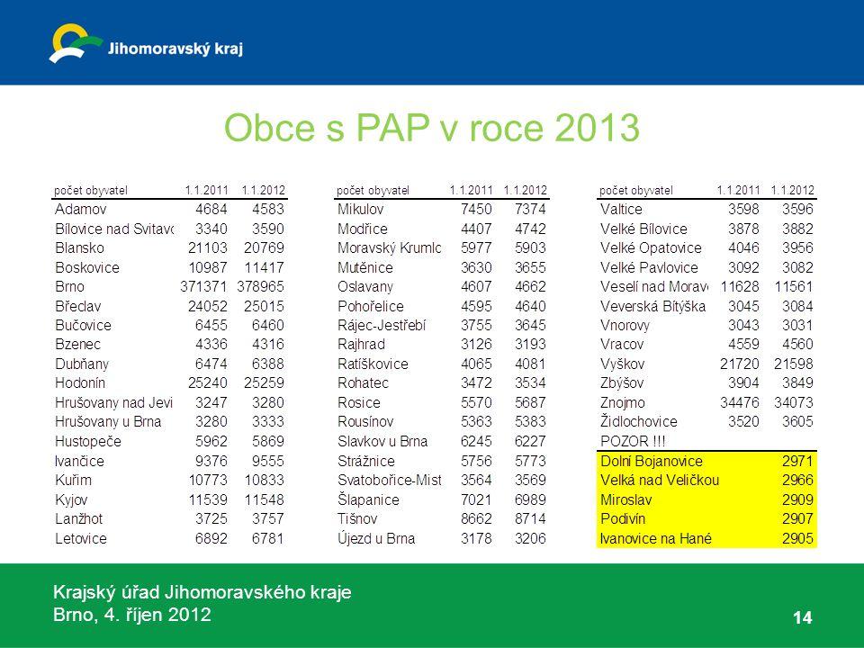 Krajský úřad Jihomoravského kraje Brno, 4. říjen 2012 Obce s PAP v roce 2013 14