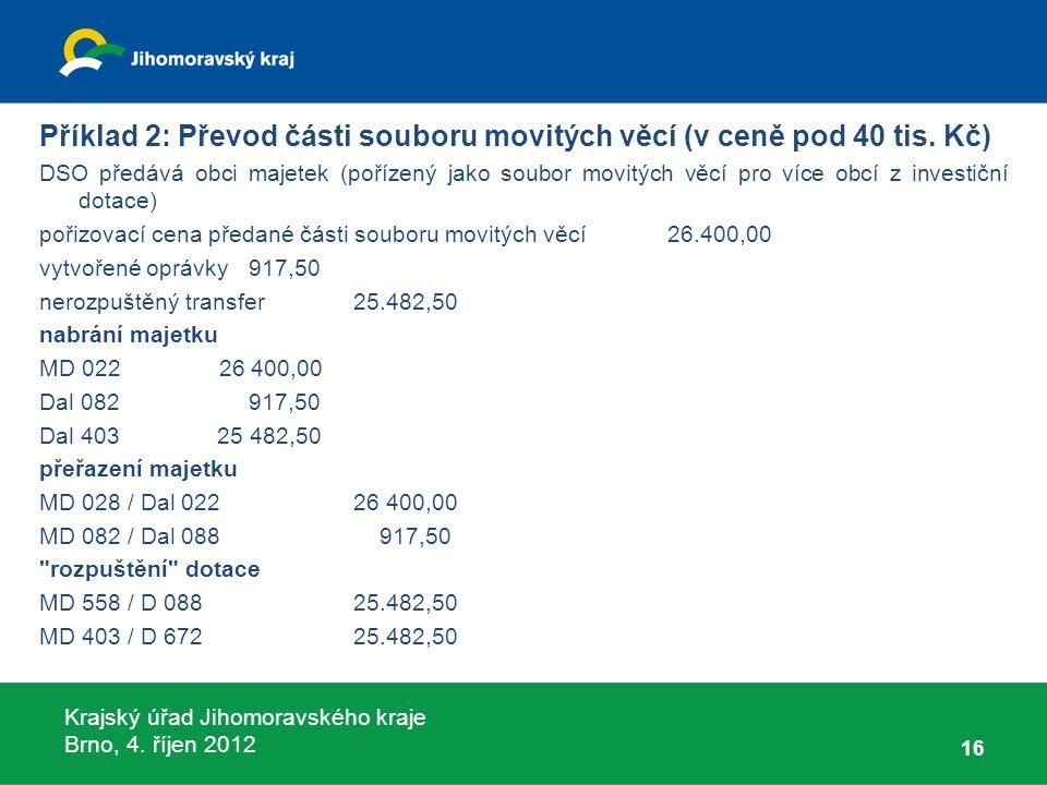 Krajský úřad Jihomoravského kraje Brno, 4. říjen 2012 Příklad 2: Převod části souboru movitých věcí (v ceně pod 40 tis. Kč) DSO předává obci majetek (
