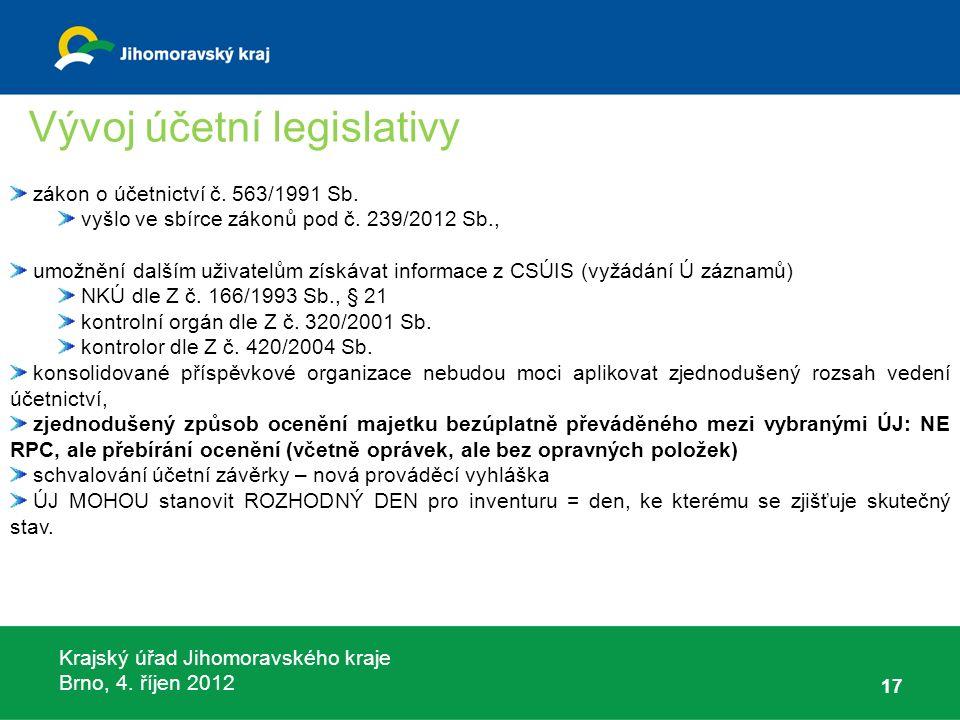 Krajský úřad Jihomoravského kraje Brno, 4. říjen 2012 17 zákon o účetnictví č. 563/1991 Sb. vyšlo ve sbírce zákonů pod č. 239/2012 Sb., umožnění další