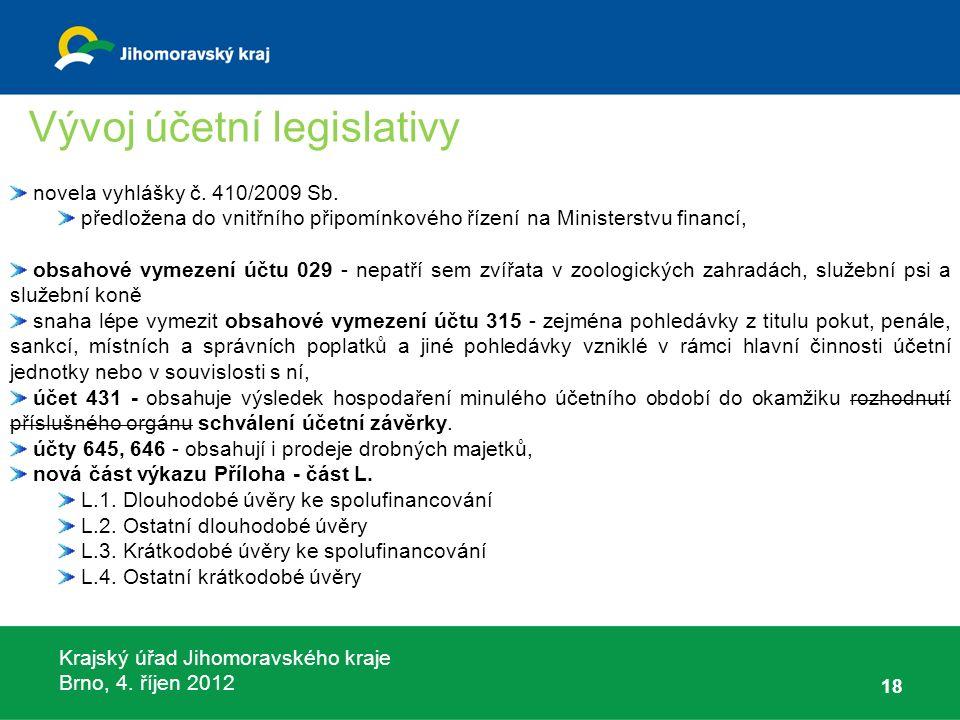 Krajský úřad Jihomoravského kraje Brno, 4. říjen 2012 18 novela vyhlášky č. 410/2009 Sb. předložena do vnitřního připomínkového řízení na Ministerstvu