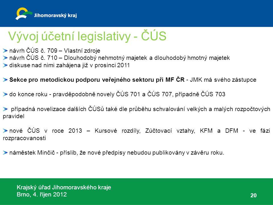Krajský úřad Jihomoravského kraje Brno, 4. říjen 2012 20 návrh ČÚS č. 709 – Vlastní zdroje návrh ČÚS č. 710 – Dlouhodobý nehmotný majetek a dlouhodobý
