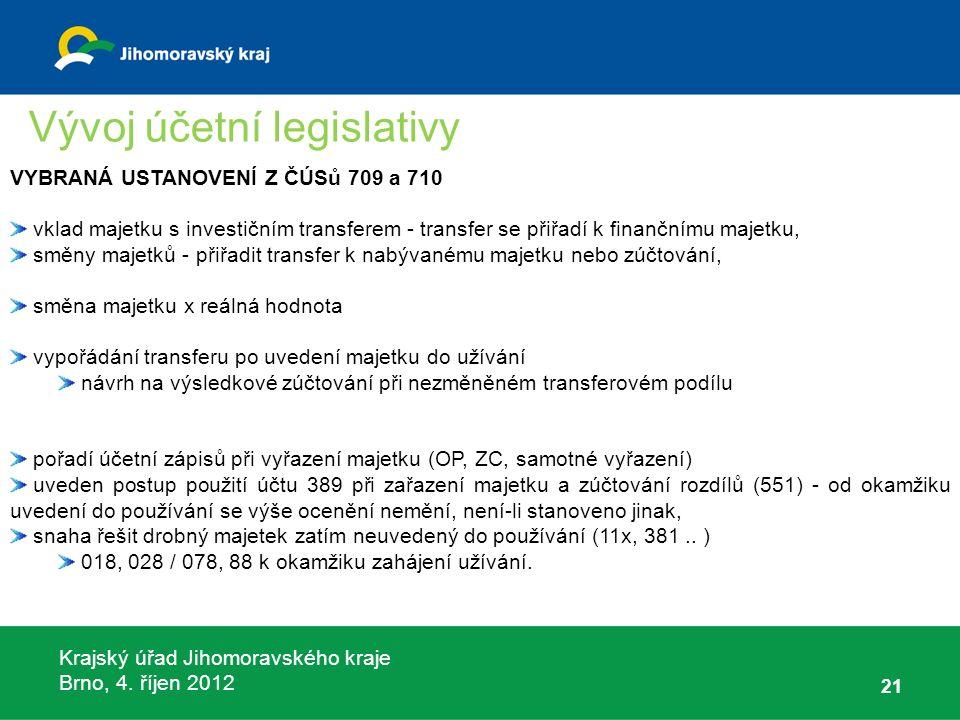 Krajský úřad Jihomoravského kraje Brno, 4. říjen 2012 21 VYBRANÁ USTANOVENÍ Z ČÚSů 709 a 710 vklad majetku s investičním transferem - transfer se přiř