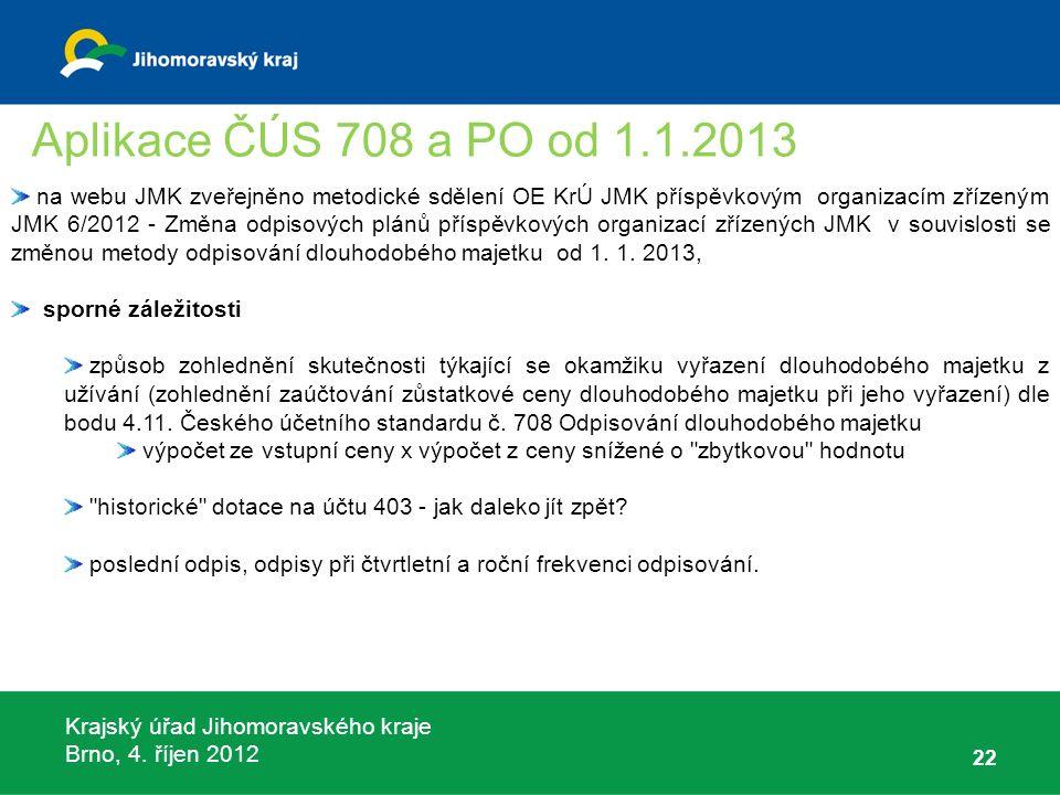 Krajský úřad Jihomoravského kraje Brno, 4. říjen 2012 22 na webu JMK zveřejněno metodické sdělení OE KrÚ JMK příspěvkovým organizacím zřízeným JMK 6/2