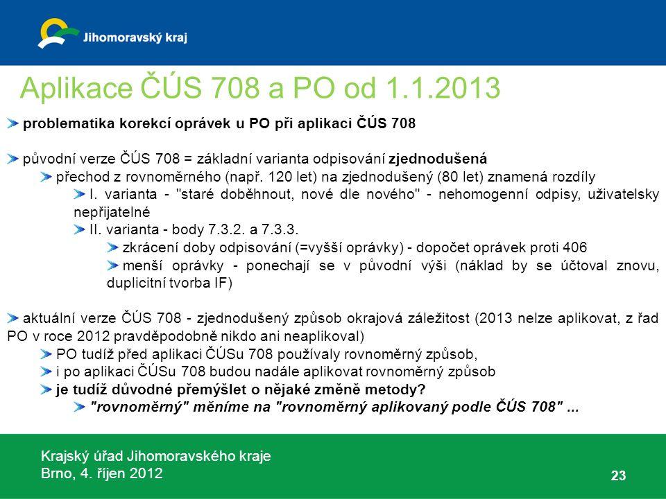 Krajský úřad Jihomoravského kraje Brno, 4. říjen 2012 23 problematika korekcí oprávek u PO při aplikaci ČÚS 708 původní verze ČÚS 708 = základní varia