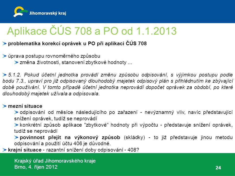 Krajský úřad Jihomoravského kraje Brno, 4. říjen 2012 24 problematika korekcí oprávek u PO při aplikaci ČÚS 708 úprava postupu rovnoměrného způsobu zm