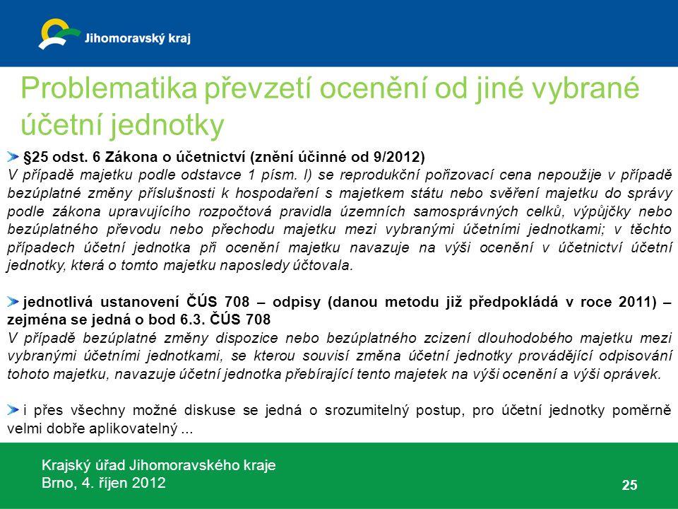 Krajský úřad Jihomoravského kraje Brno, 4. říjen 2012 25 §25 odst. 6 Zákona o účetnictví (znění účinné od 9/2012) V případě majetku podle odstavce 1 p