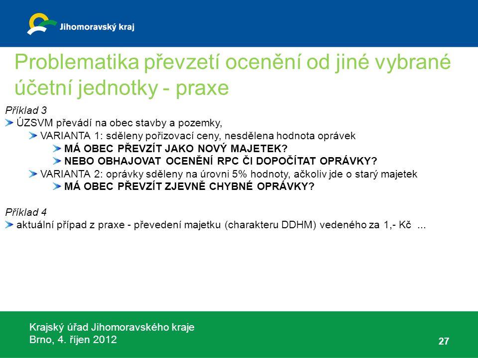 Krajský úřad Jihomoravského kraje Brno, 4. říjen 2012 27 Příklad 3 ÚZSVM převádí na obec stavby a pozemky, VARIANTA 1: sděleny pořizovací ceny, nesděl