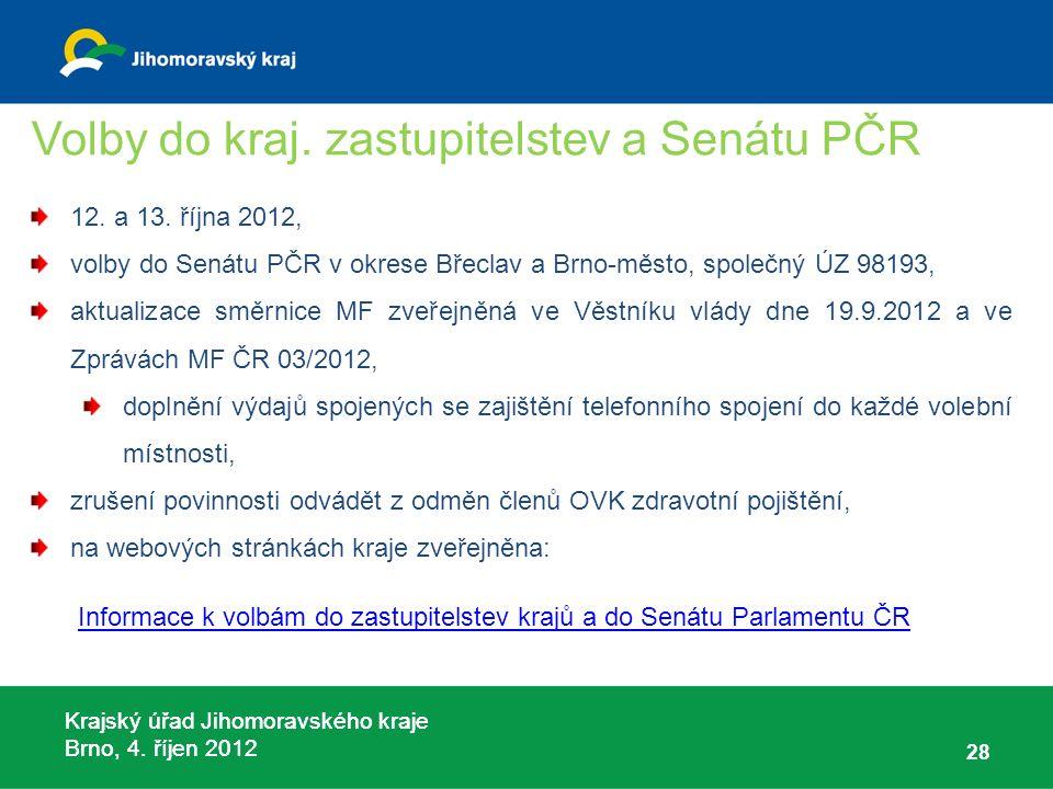 Krajský úřad Jihomoravského kraje Brno, 4. říjen 2012 Volby do kraj. zastupitelstev a Senátu PČR 12. a 13. října 2012, volby do Senátu PČR v okrese Bř