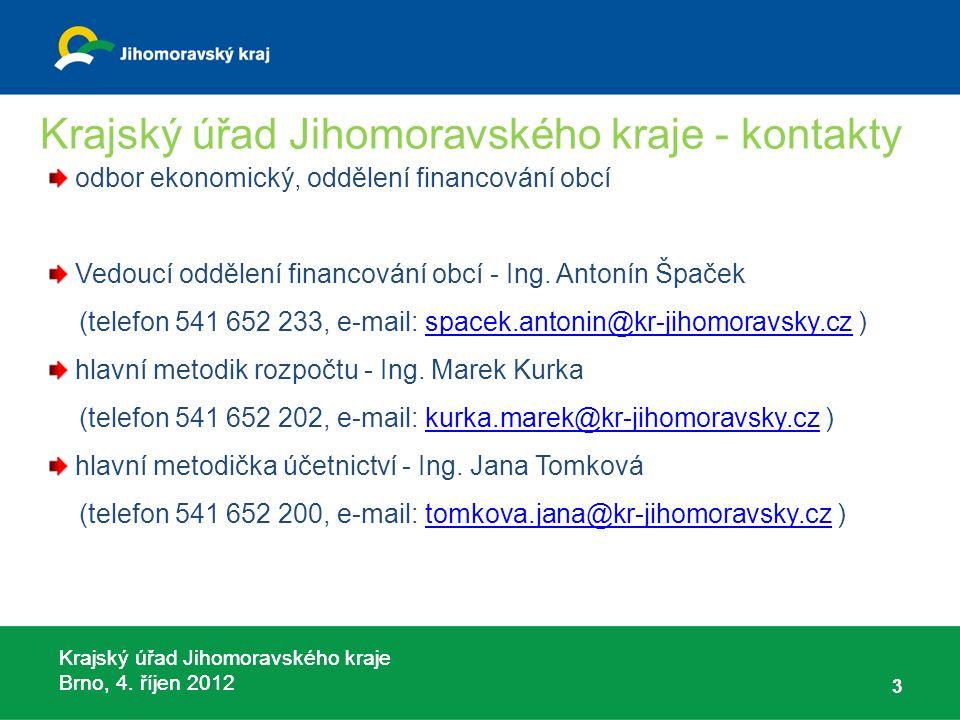 Krajský úřad Jihomoravského kraje Brno, 4. říjen 2012 Krajský úřad Jihomoravského kraje - kontakty odbor ekonomický, oddělení financování obcí Vedoucí