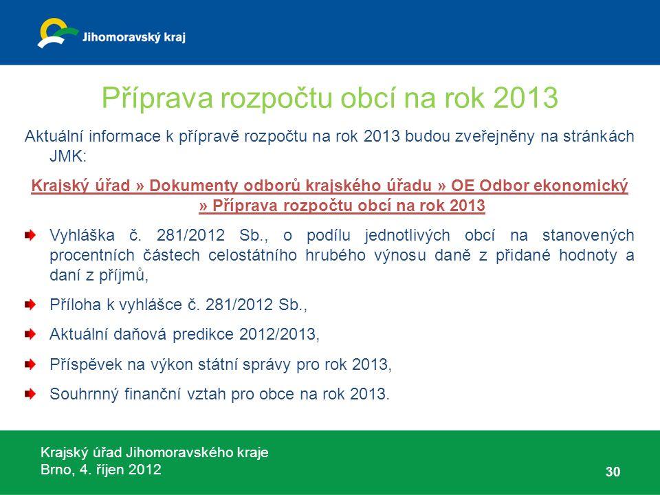 Krajský úřad Jihomoravského kraje Brno, 4. říjen 2012 Příprava rozpočtu obcí na rok 2013 Aktuální informace k přípravě rozpočtu na rok 2013 budou zveř