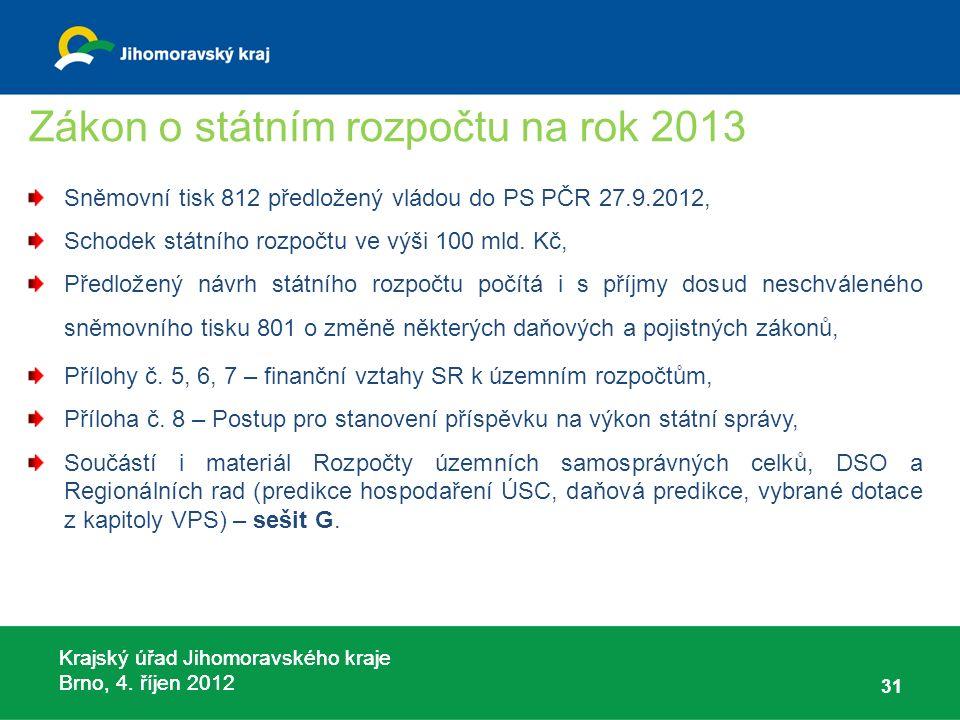 Krajský úřad Jihomoravského kraje Brno, 4. říjen 2012 Zákon o státním rozpočtu na rok 2013 Sněmovní tisk 812 předložený vládou do PS PČR 27.9.2012, Sc