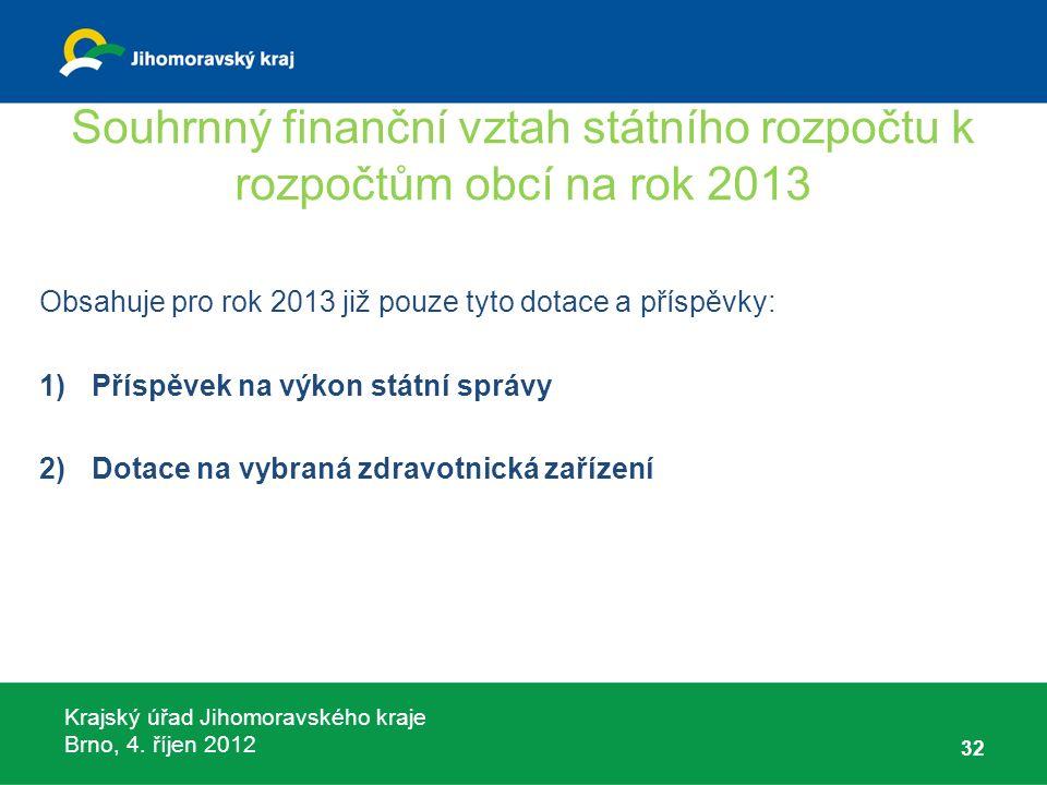 Krajský úřad Jihomoravského kraje Brno, 4. říjen 2012 Souhrnný finanční vztah státního rozpočtu k rozpočtům obcí na rok 2013 Obsahuje pro rok 2013 již