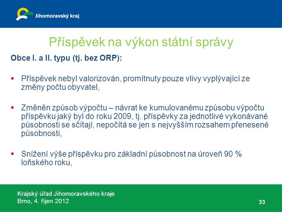 Krajský úřad Jihomoravského kraje Brno, 4. říjen 2012 Příspěvek na výkon státní správy Obce I.