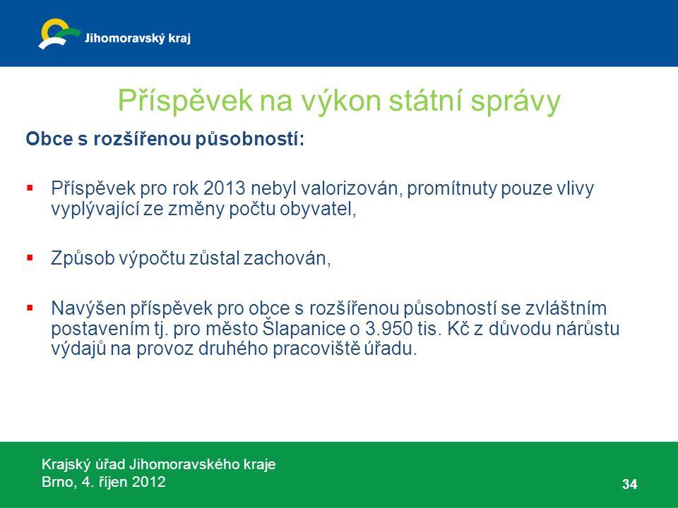 Krajský úřad Jihomoravského kraje Brno, 4. říjen 2012 Příspěvek na výkon státní správy Obce s rozšířenou působností:  Příspěvek pro rok 2013 nebyl va