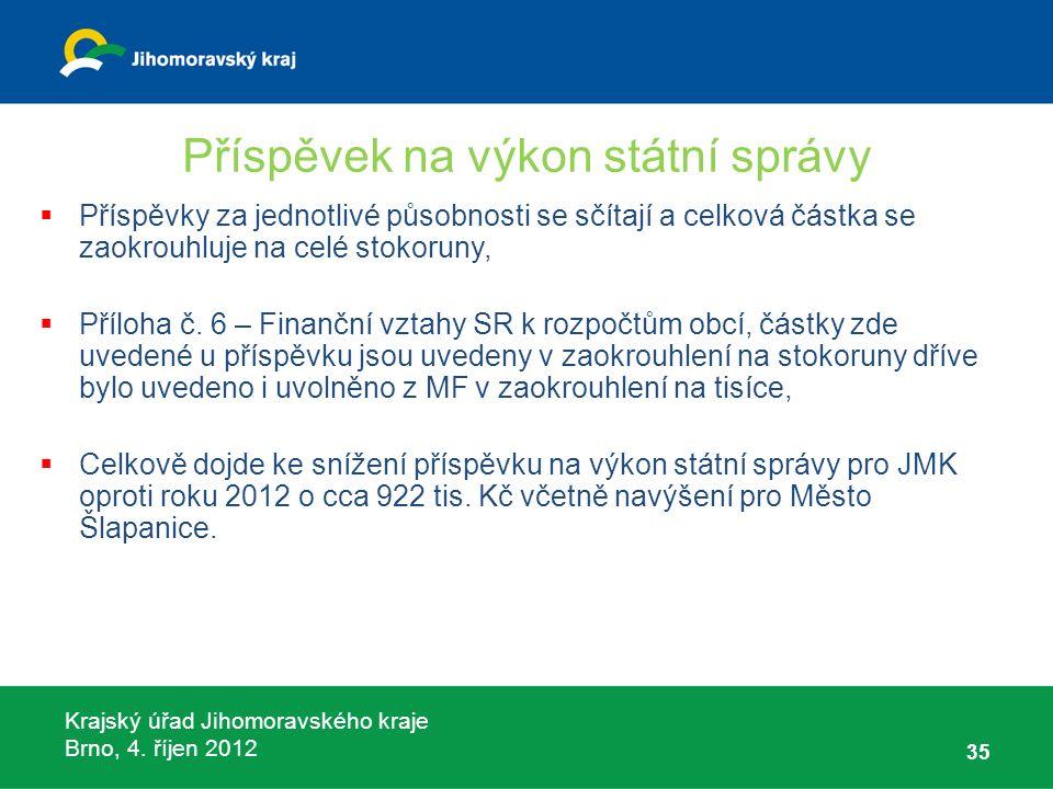 Krajský úřad Jihomoravského kraje Brno, 4. říjen 2012 Příspěvek na výkon státní správy  Příspěvky za jednotlivé působnosti se sčítají a celková částk