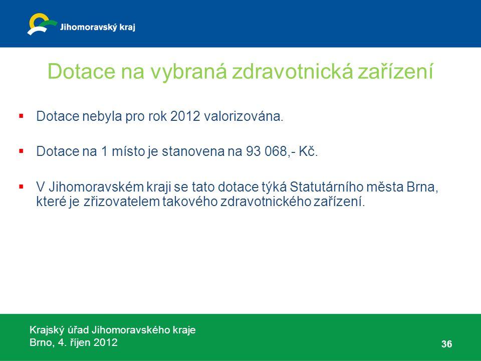 Krajský úřad Jihomoravského kraje Brno, 4. říjen 2012 Dotace na vybraná zdravotnická zařízení  Dotace nebyla pro rok 2012 valorizována.  Dotace na 1