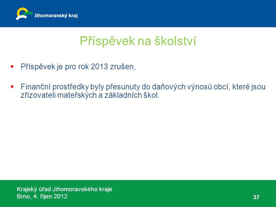 Krajský úřad Jihomoravského kraje Brno, 4. říjen 2012 Příspěvek na školství  Příspěvek je pro rok 2013 zrušen,  Finanční prostředky byly přesunuty d