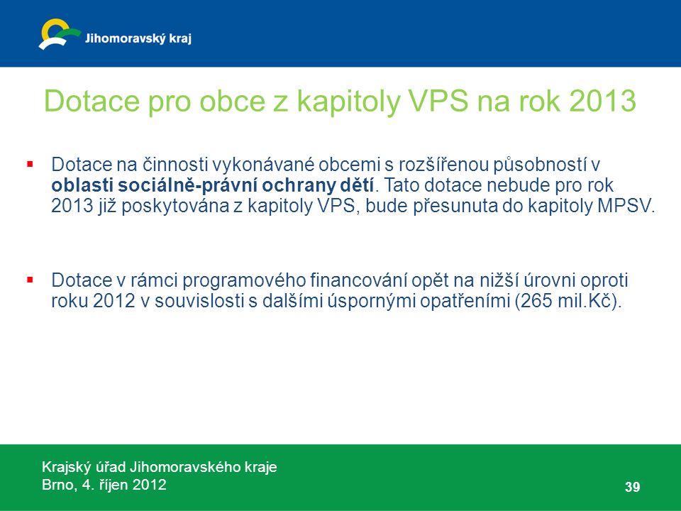 Krajský úřad Jihomoravského kraje Brno, 4. říjen 2012 Dotace pro obce z kapitoly VPS na rok 2013  Dotace na činnosti vykonávané obcemi s rozšířenou p