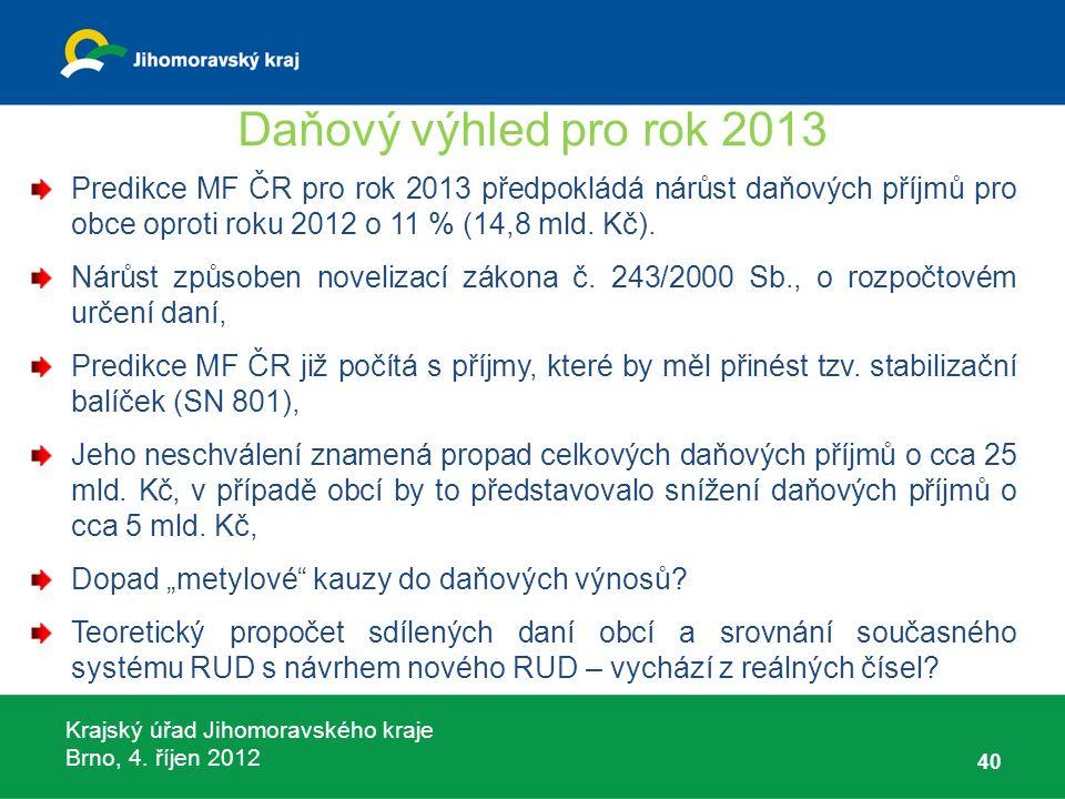 Krajský úřad Jihomoravského kraje Brno, 4. říjen 2012 Daňový výhled pro rok 2013 Predikce MF ČR pro rok 2013 předpokládá nárůst daňových příjmů pro ob