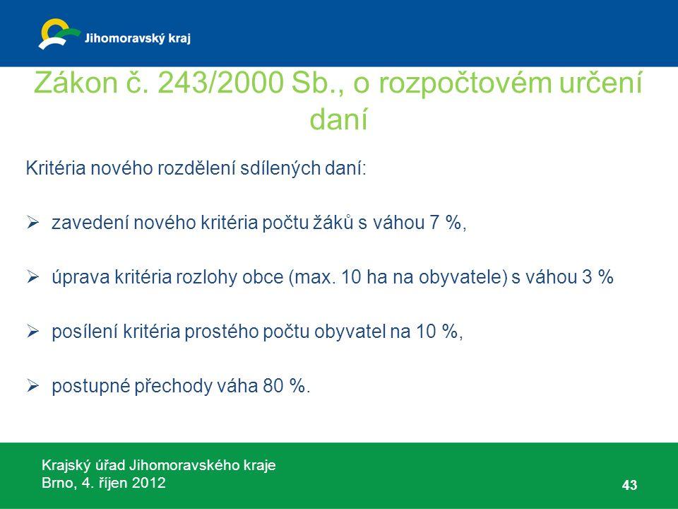 Krajský úřad Jihomoravského kraje Brno, 4. říjen 2012 Zákon č. 243/2000 Sb., o rozpočtovém určení daní Kritéria nového rozdělení sdílených daní:  zav