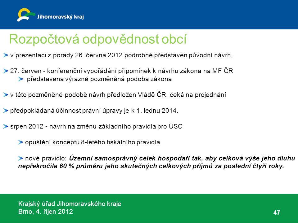 Krajský úřad Jihomoravského kraje Brno, 4. říjen 2012 47 v prezentaci z porady 26. června 2012 podrobně představen původní návrh, 27. červen - konfere