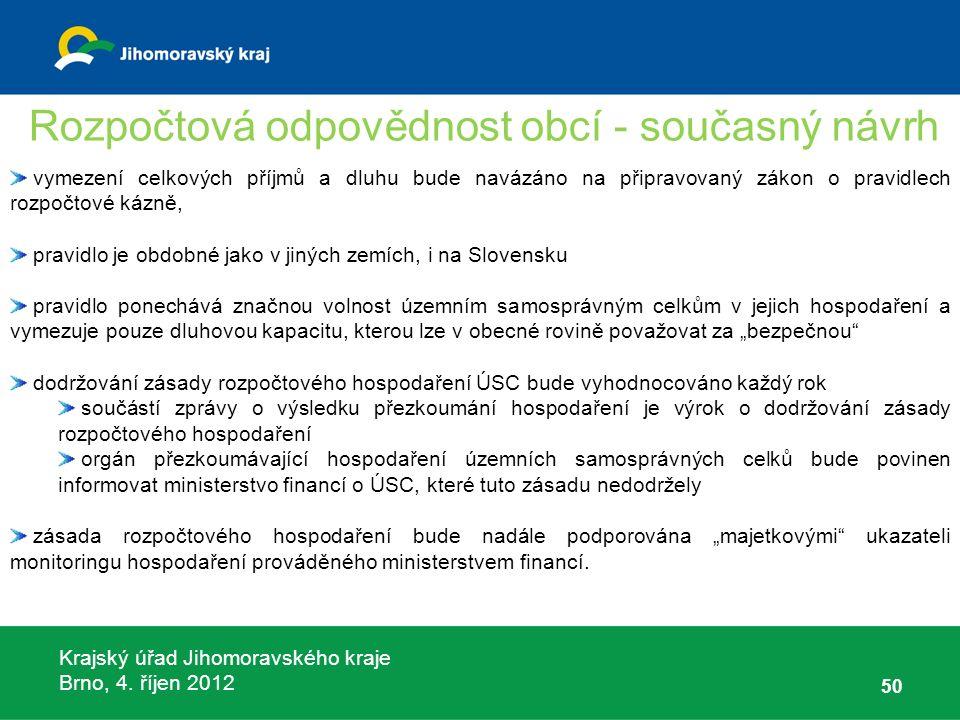 Krajský úřad Jihomoravského kraje Brno, 4. říjen 2012 50 vymezení celkových příjmů a dluhu bude navázáno na připravovaný zákon o pravidlech rozpočtové