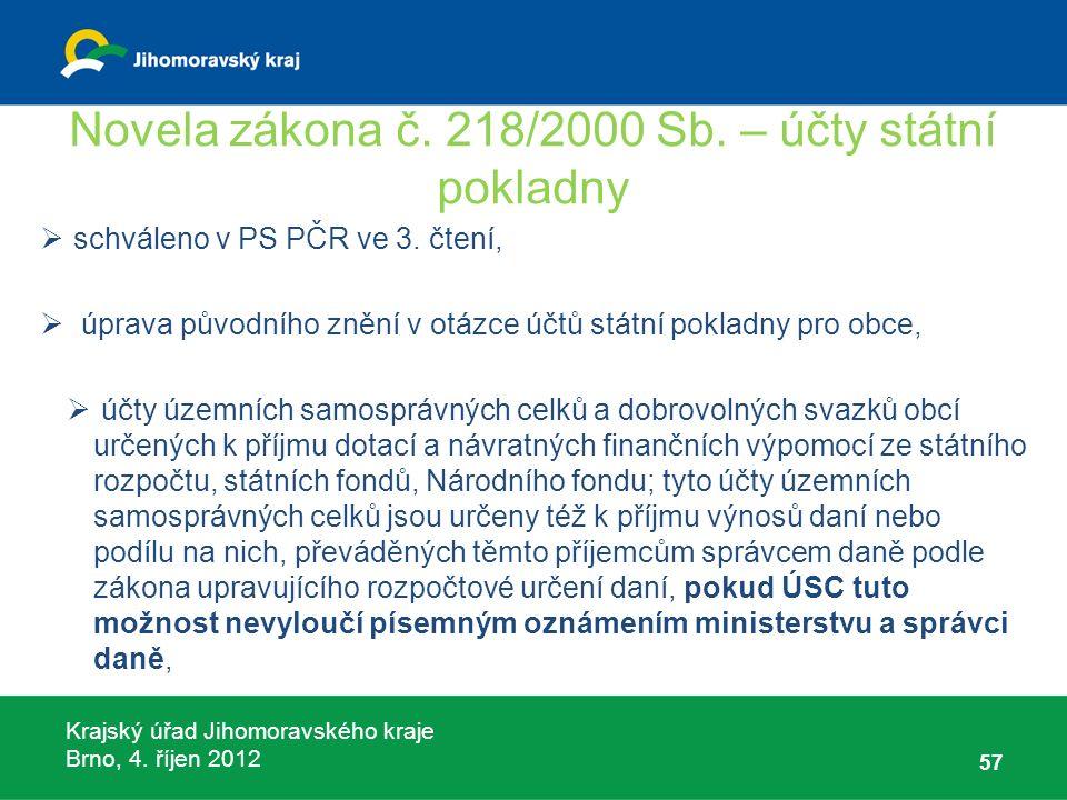Krajský úřad Jihomoravského kraje Brno, 4. říjen 2012 Novela zákona č. 218/2000 Sb. – účty státní pokladny  schváleno v PS PČR ve 3. čtení,  úprava