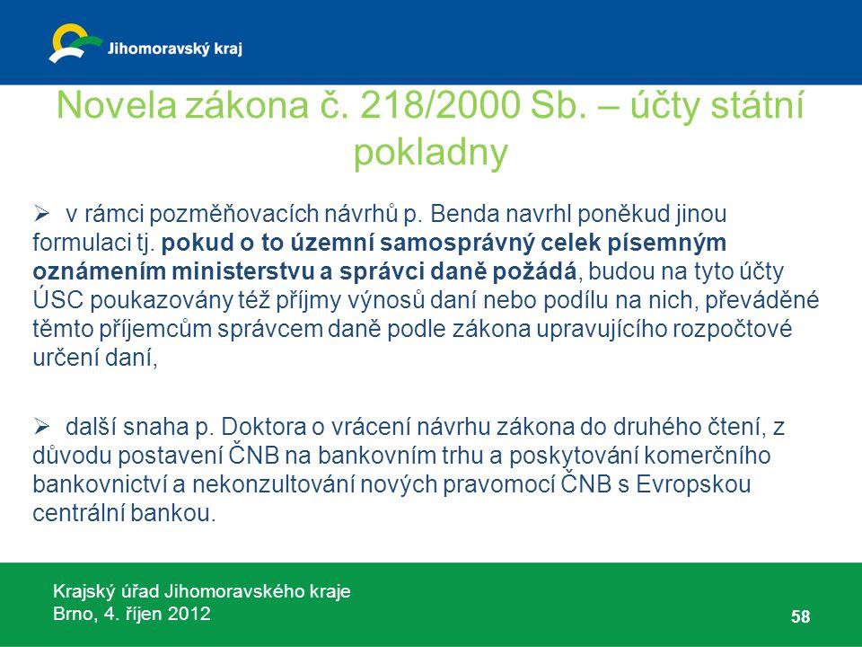 Krajský úřad Jihomoravského kraje Brno, 4. říjen 2012 Novela zákona č. 218/2000 Sb. – účty státní pokladny  v rámci pozměňovacích návrhů p. Benda nav